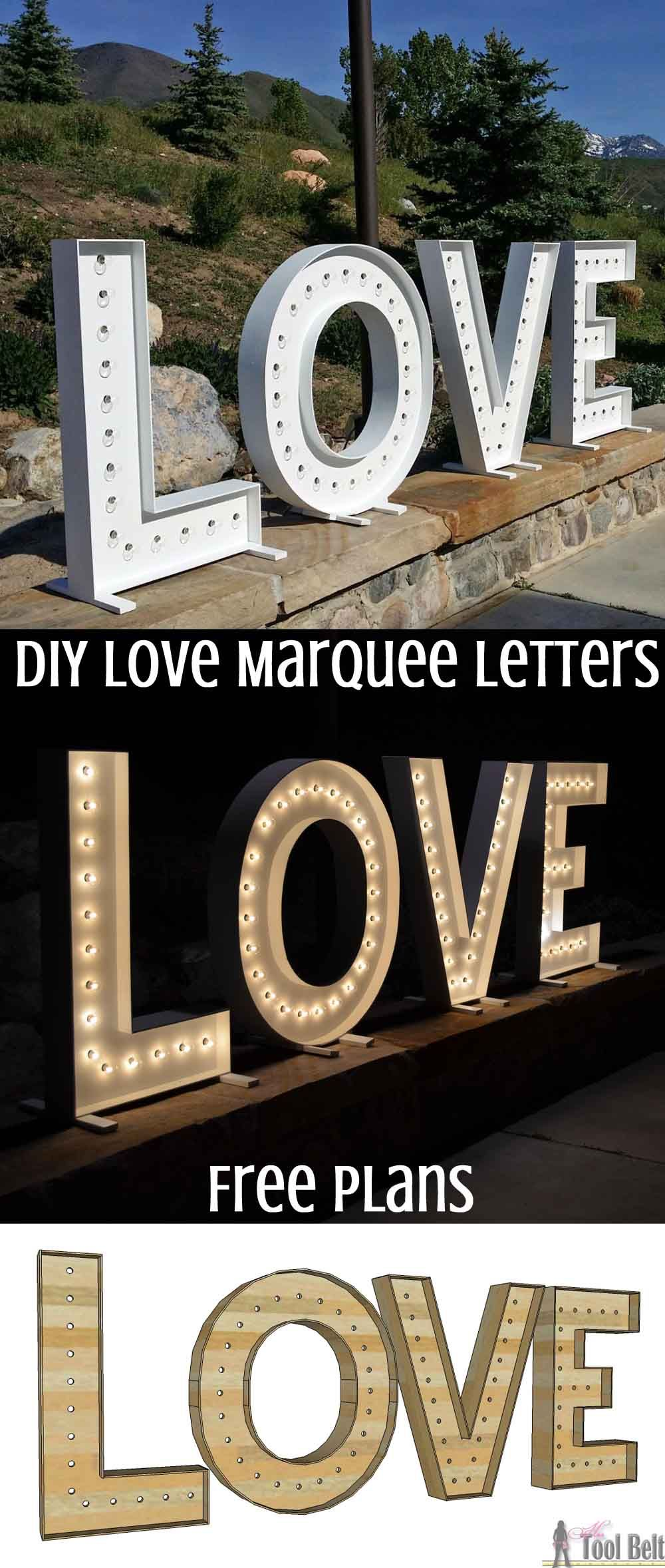 Wood DIY LOVE Marquee Letters - Her Tool Belt
