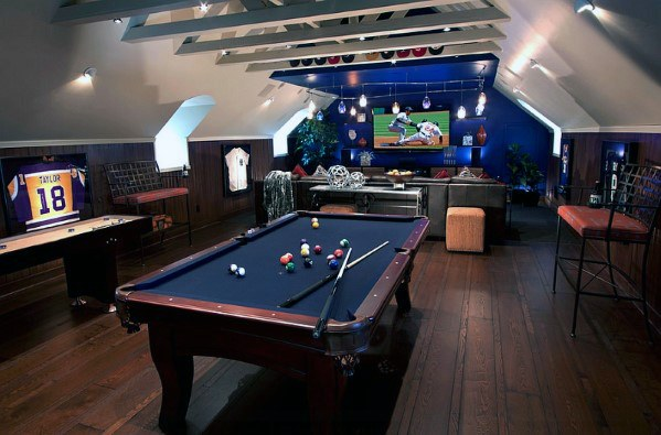 50 Gaming Man Cave Design Ideas For Men Manly Home Retreats Attic Game Room Man Cave Room Game Room