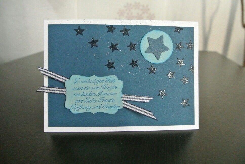 Weihnachts-Winterkarte blau