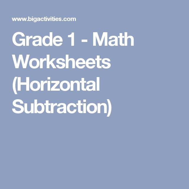 Grade 1 - Math Worksheets (Horizontal Subtraction) | mug cake ...