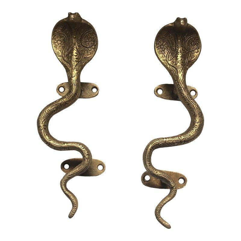 Stunning Hollywood Regency Gold Cobra Door Handles- a Pair