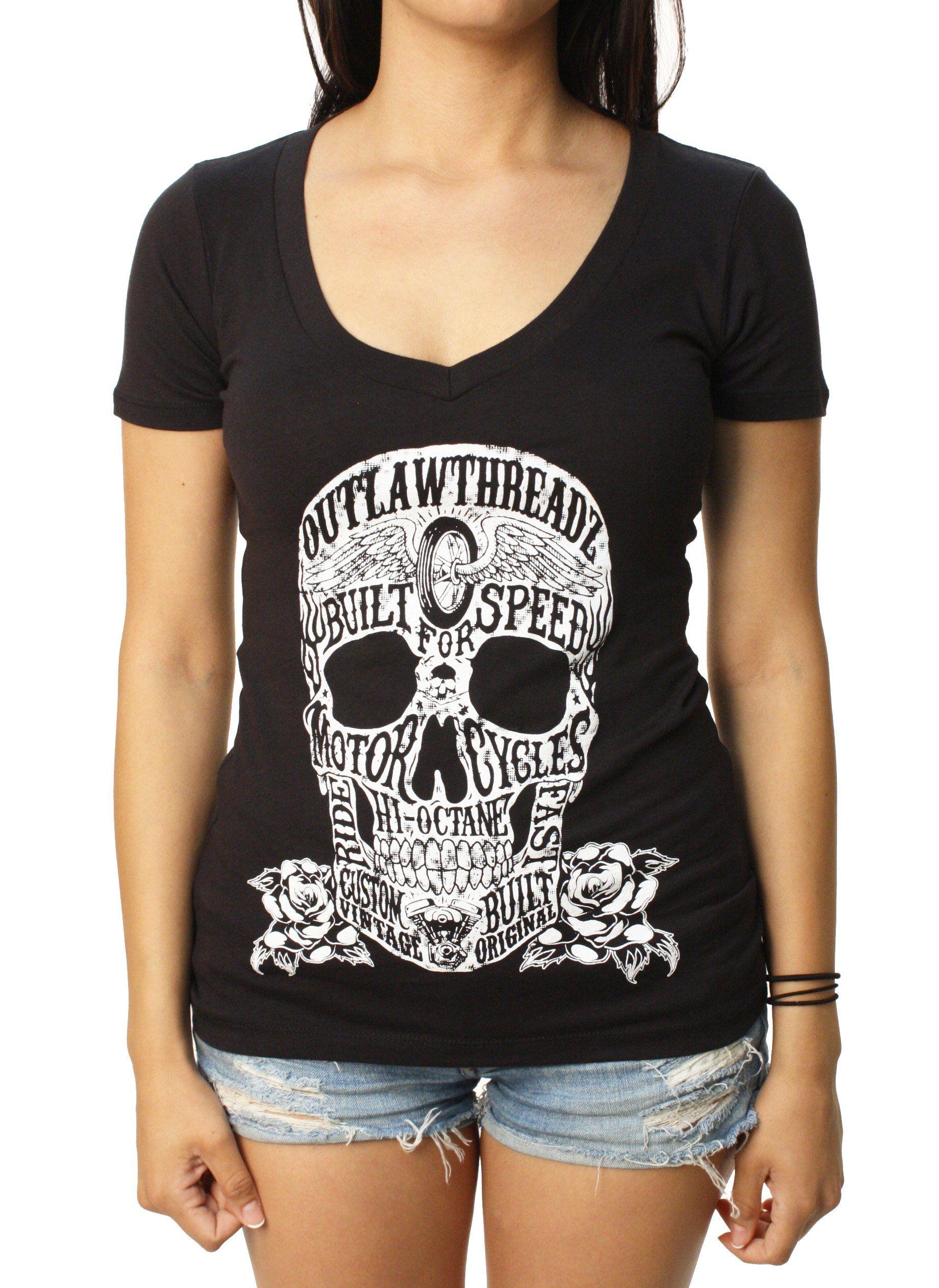 c94094fb70e Outlaw Threadz Women s Moto Skull V-Neck Graphic T-Shirt