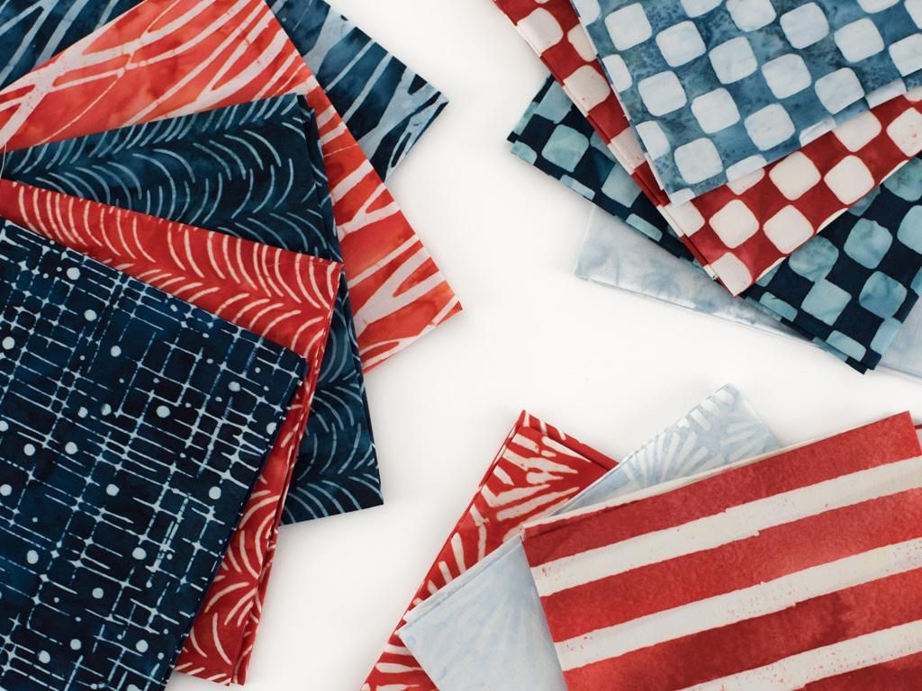 12 Robert Kaufman Red White Blue Fat Quarter Batik Patriotic ... : white batik quilt fabric - Adamdwight.com