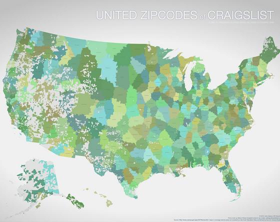United States via Craigs List Zip Codes   Map, Internet map ...