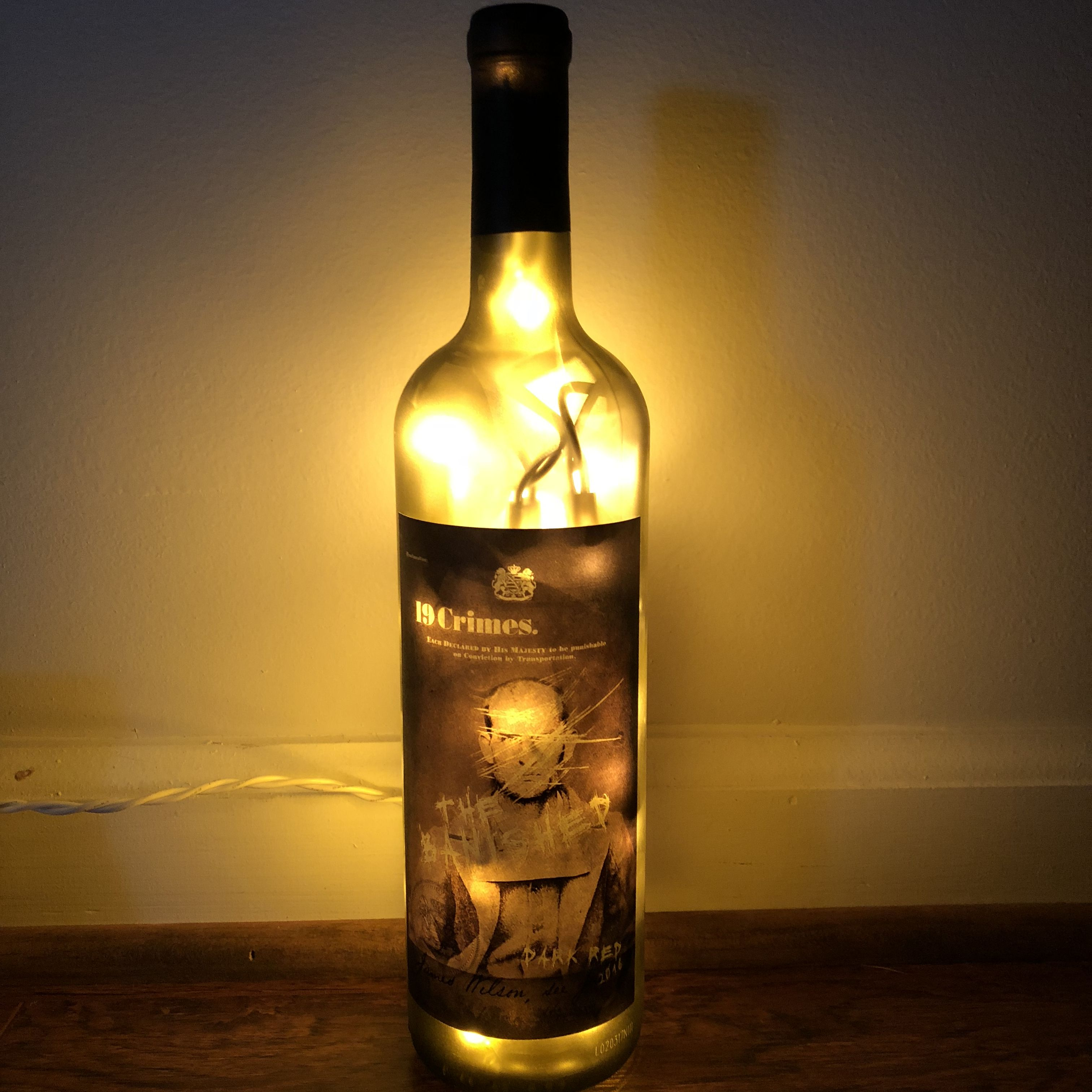 A Real Bottle Made Into A Lamp Liquor Bottle Lamp
