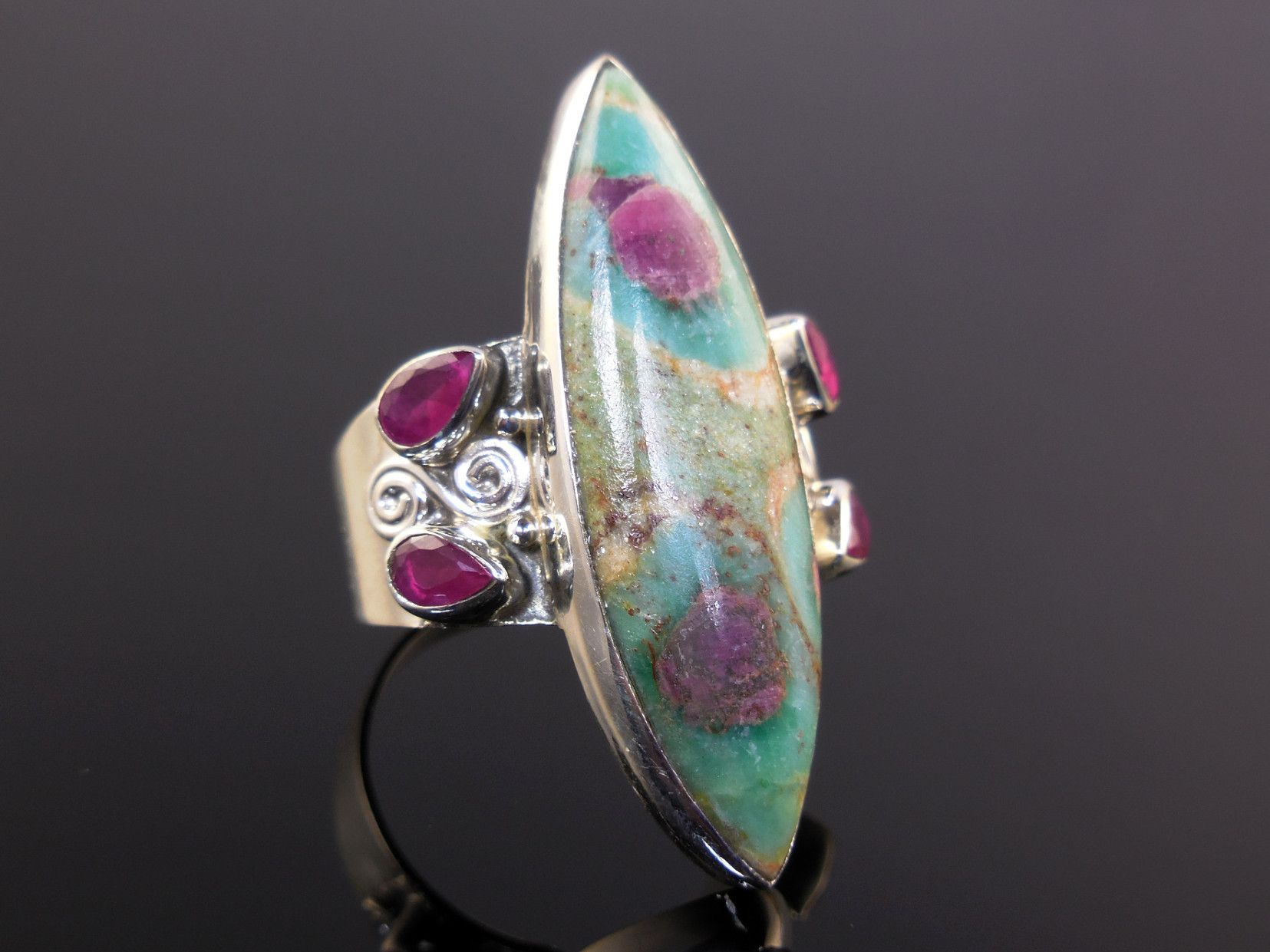 Ruby in Fuschite & Ruby Sterling Silver Ring - Size 8.5