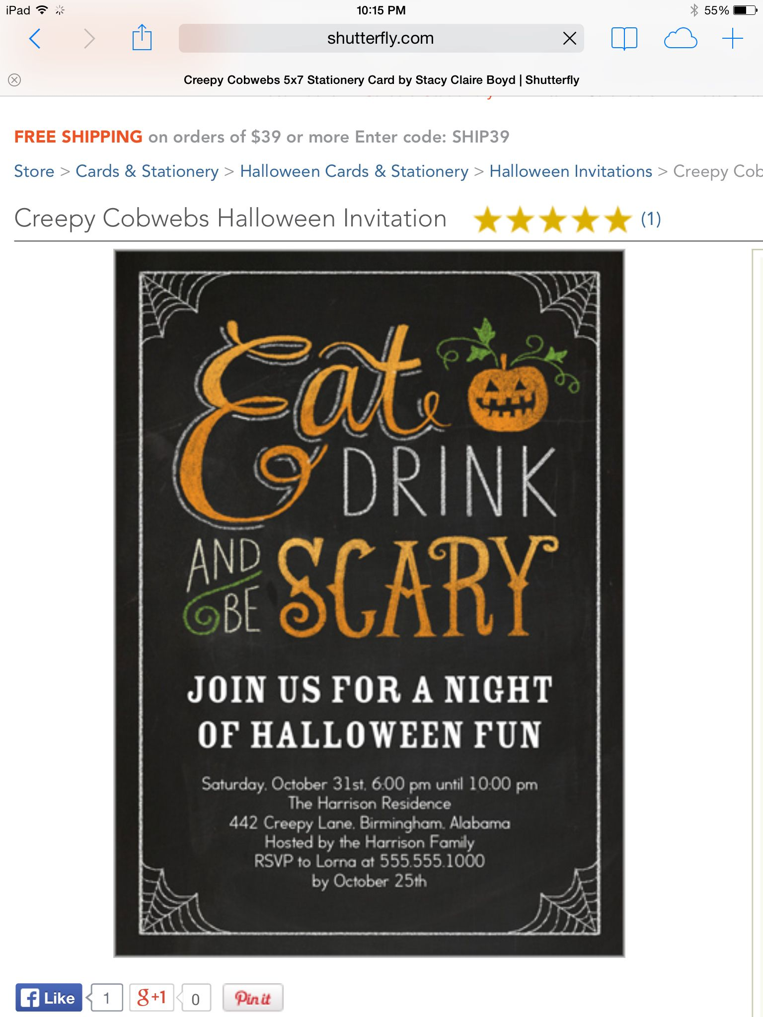 Shutterfly Halloween invitations, Stationery cards