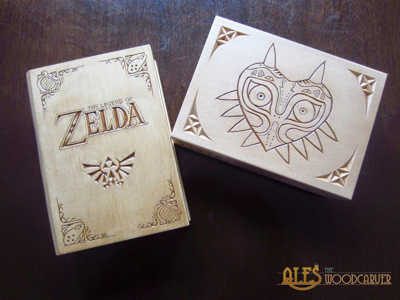 Legend of Zelda trinket boxes chip carved wood carving