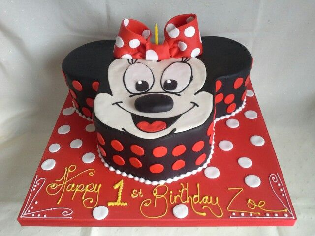 Minnie mouse head 1st birthday cake created by MJ wwwmjscakesconz