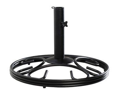 """Living Accents Wrought Iron Round Umbrella Base (28580MB) by Ace. $49.99. Sold as one unit. (1 unit = each.) 19.5"""" x 19.5"""" x 13"""". Cast iron. Rust resistant powder coatings. 2"""" diameter holding pole with 41MM and 31MM plastic adapters for smaller poles. Perfect for Plantation Patterns dining set. Bakelite knob on holding bolt. Minimal assembly. Matte black. Boxed. Matte Black. Manufacturer number: 28580MB. SKU #: 8215410. Country of origin: China. Distributed by Ace Trading-Park ..."""