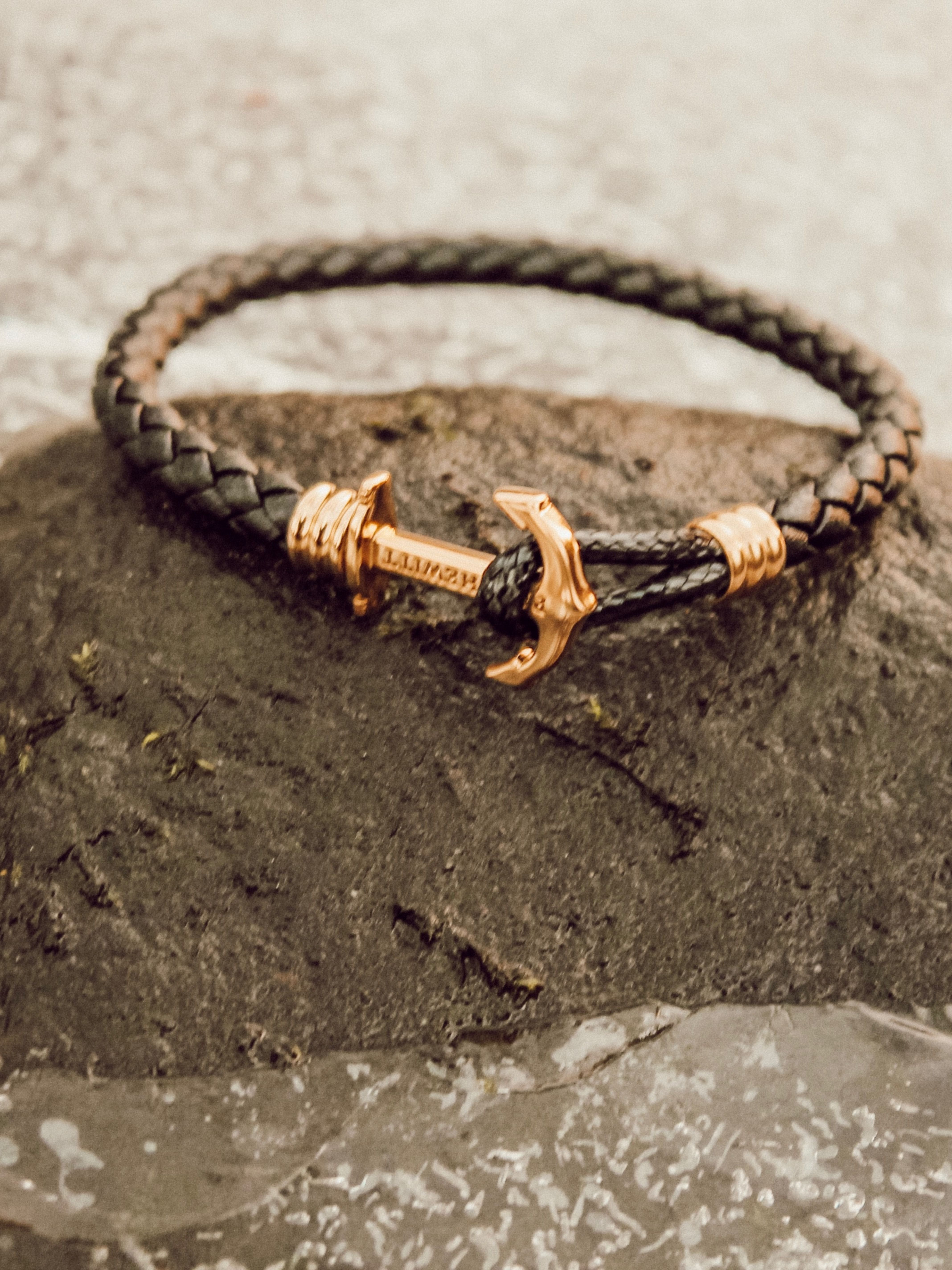 Ankerarmband Phrep Lite Gold Schwarz Armband Anker Armband Leder Und Schwarzes Lederarmband