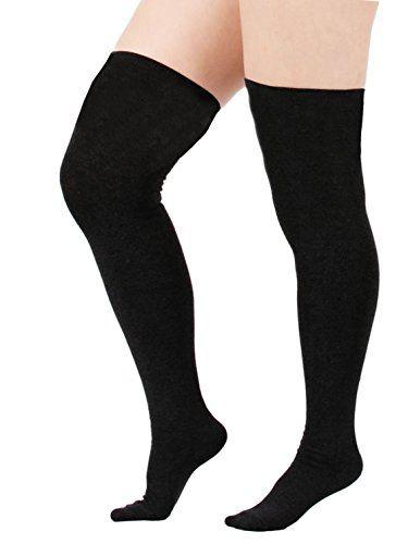 zando women cotton triple stripes tube over knee thigh plus size