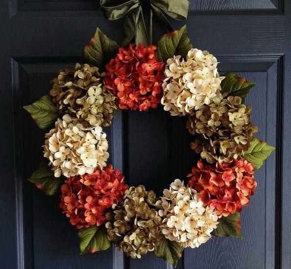 Autumn Hydrangea Wreath   Fall Wreaths   Wreaths for Door   Fall Decor   Fall Porch Decorating ideas   Autumn Door Decor   Home Decor