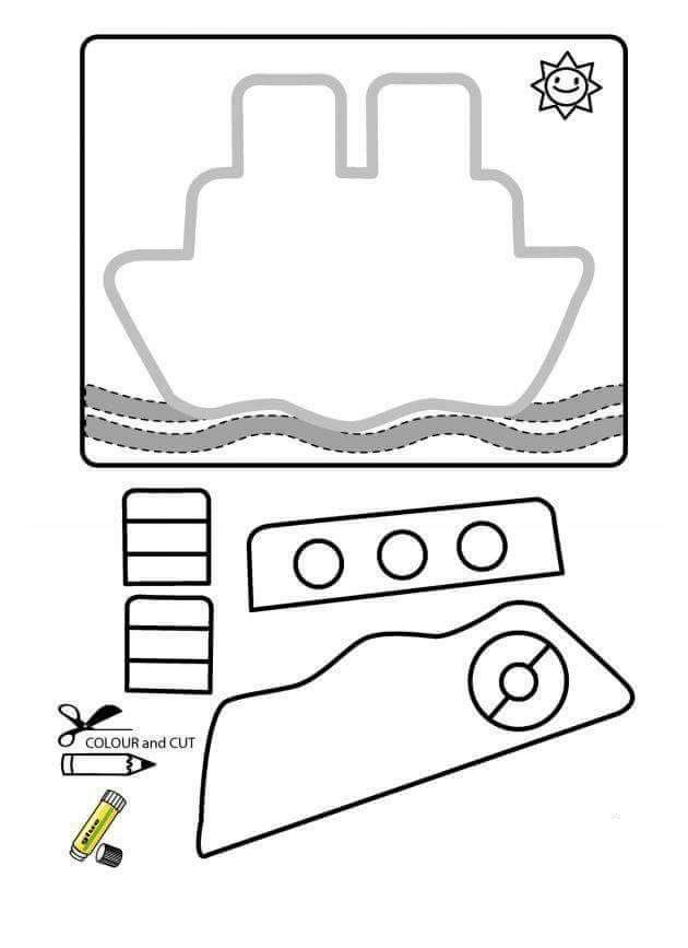 free download cut paste patterns printable packet ship funnycrafts okul ncesi cut. Black Bedroom Furniture Sets. Home Design Ideas