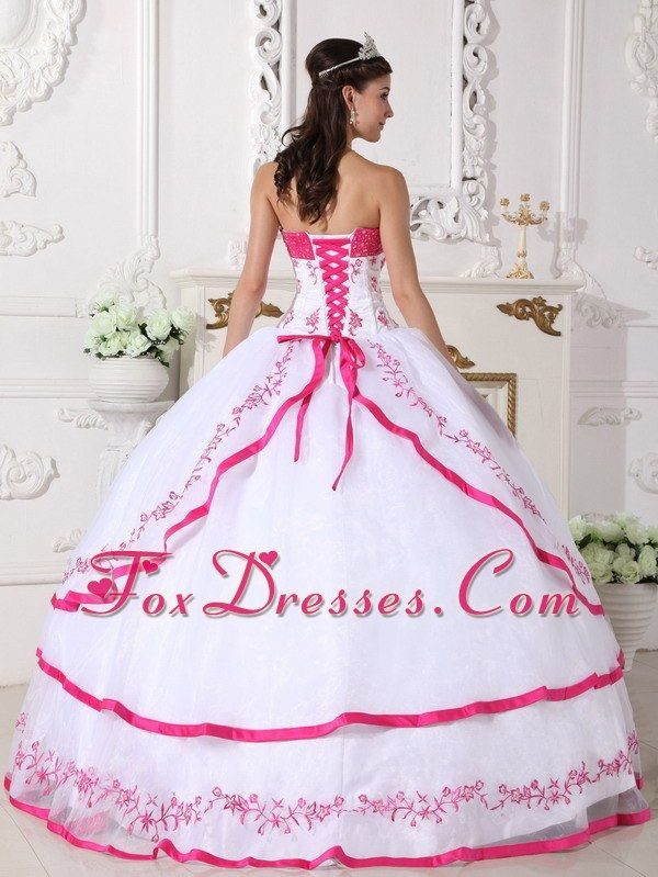 Hot Pink And White Wedding Dresses Designer Strapless Beading Quinceanera Dress