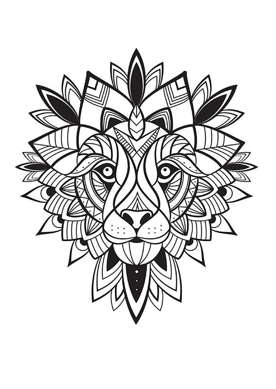 coloriage-Lion-72dpi | dessin, coloriage, cameo.. | Coloriage ...