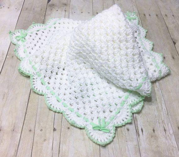 White Baby Blanket, Crochet Baby Blanket, White Baby Afghan, Granny ...