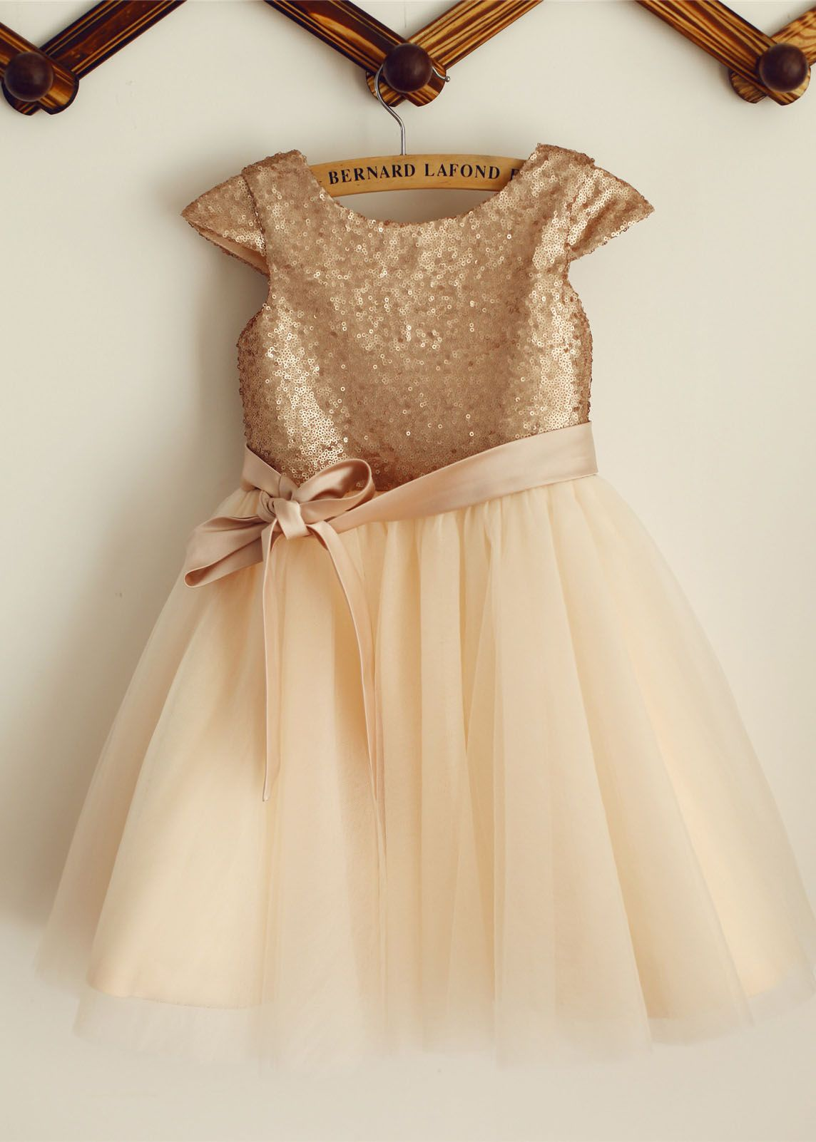 Gold Sequin and Tulle Cap Sleeve Dress