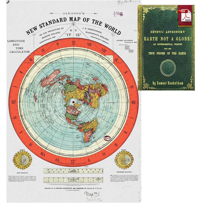 Amazoncom Flat Earth Map Gleasons New Standard Map Of The - Flat map of world