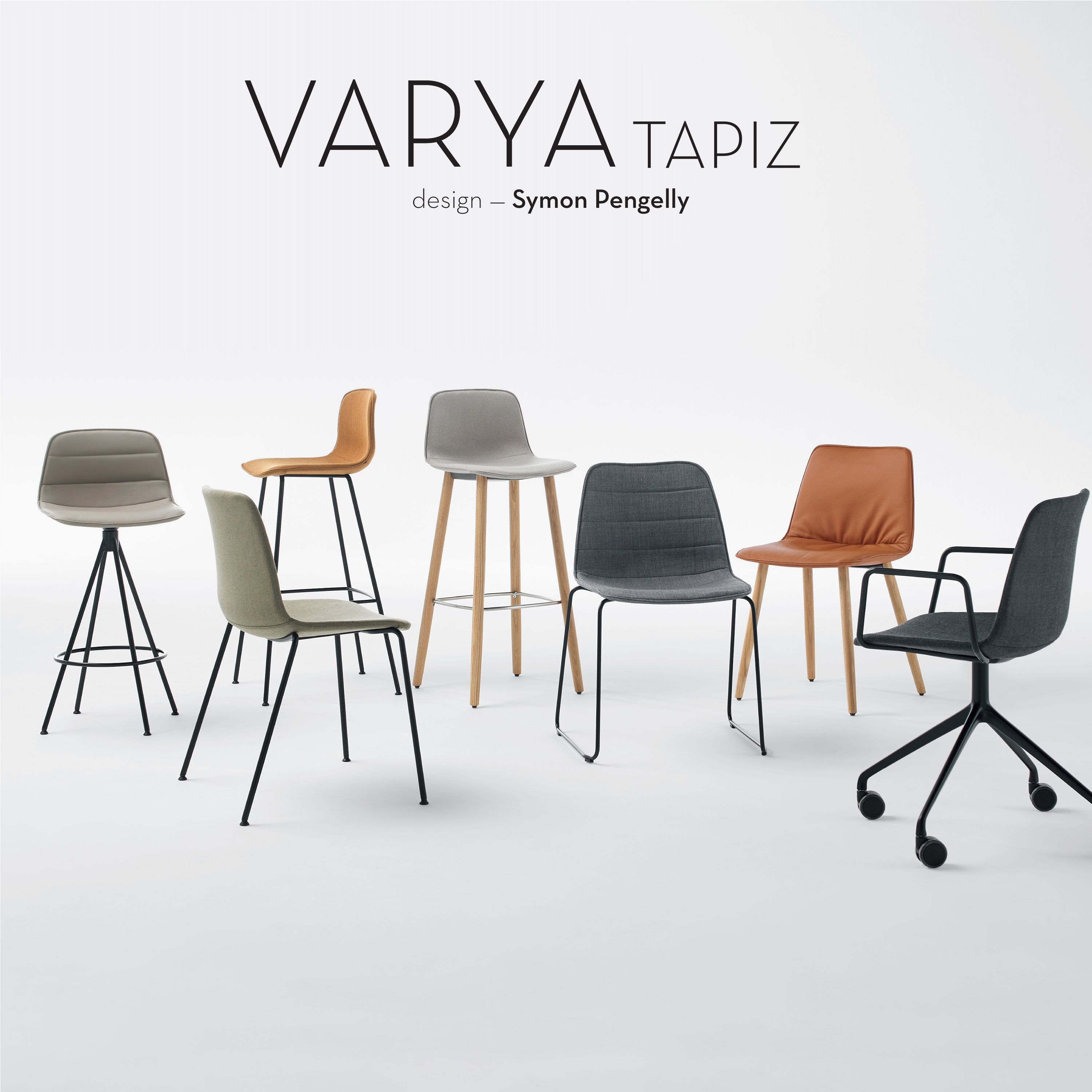 The VARYA TAPIZ collection encompasses all the upholstered versions in the VARYA family, generated by combining three versions of comfortable upholstered seats with different metallic and wooden bases.  The shells can be upholstered in all the fabrics and leathers of the INCLASS sample card or in fabrics specified or supplied by the customer. The metallic and wooden bases are also available in a broad range of finishes. This wide variety of bases and finishes enables the configuration of…