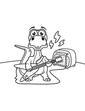 Ausmalbild Dinosaurier Spielt E Gitarre Ausmalen Ausmalbilder Ausmalbild
