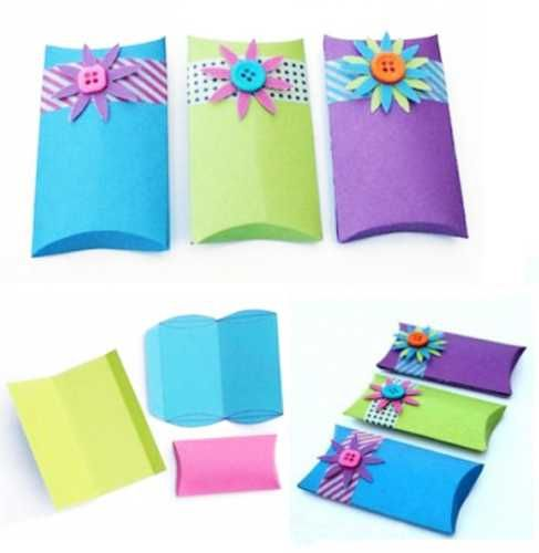 handmade gift boxes with buttons and paper flowers