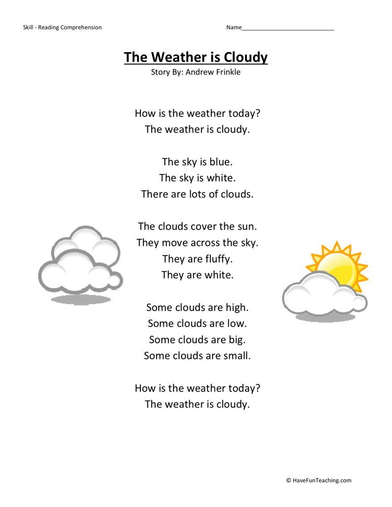 Reading Comprehension Worksheet - Weather is Cloudy | kg2 | Pinterest