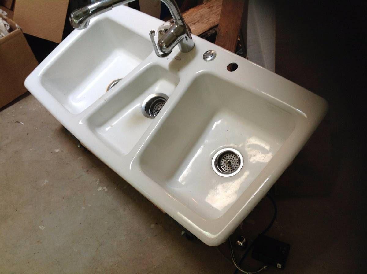 Kohler white 3 basin cast iron enamel kitchen sink | Sink ...