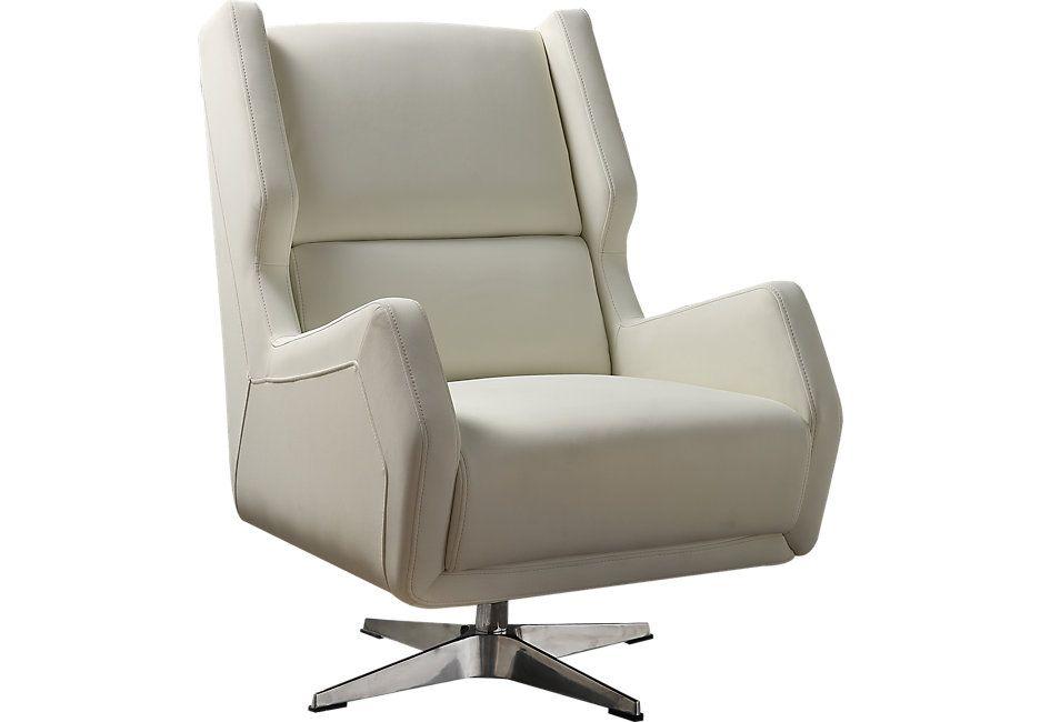 Bertino White Swivel Accent Chair Accent Chairs White White
