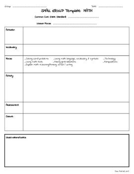 Small Group RTI Special Education Lesson Plan Template - Lesson plan template special education