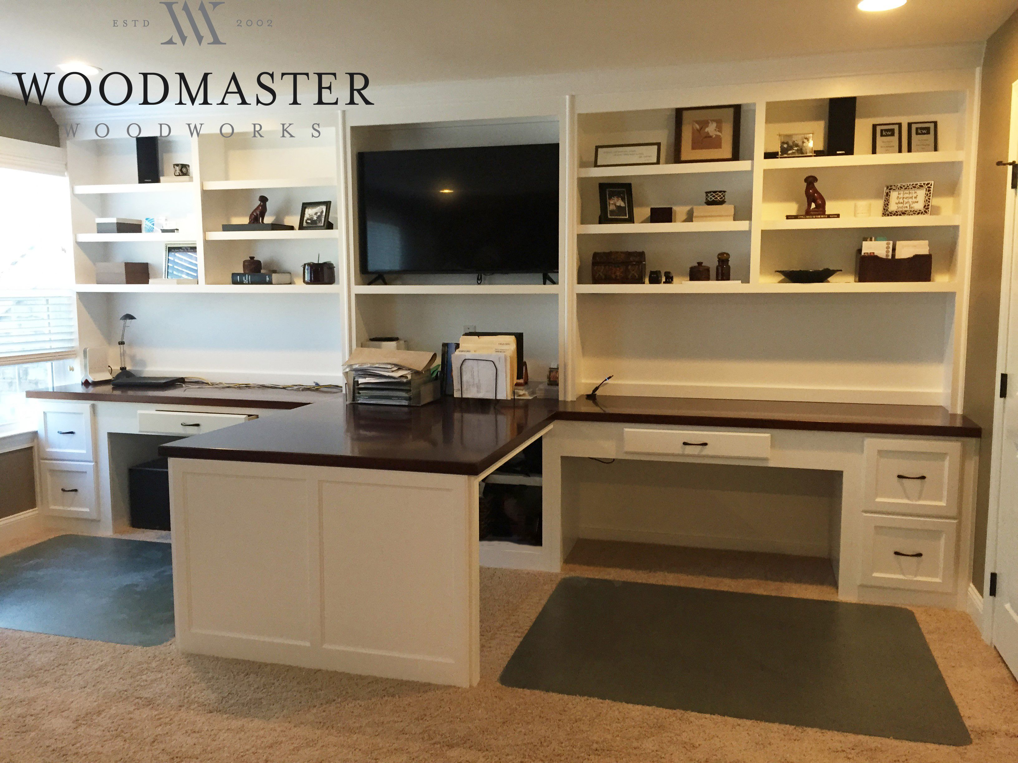 Custom Built In Desk With Adjustable Shelves Home Office Space