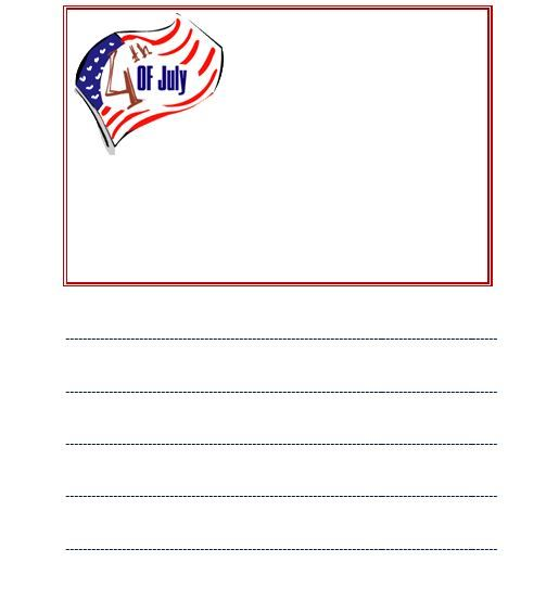 Happy Fourth of Julyu0027 lined writing template Freebie - lined template
