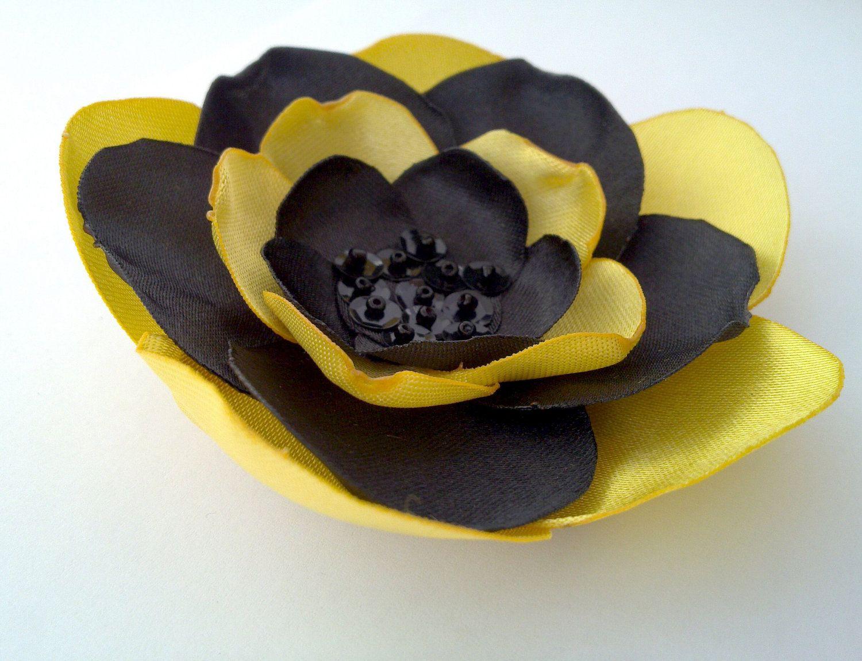 Black Yellow Flower Pin Broochsatin Flower For Dressbeltbaghat