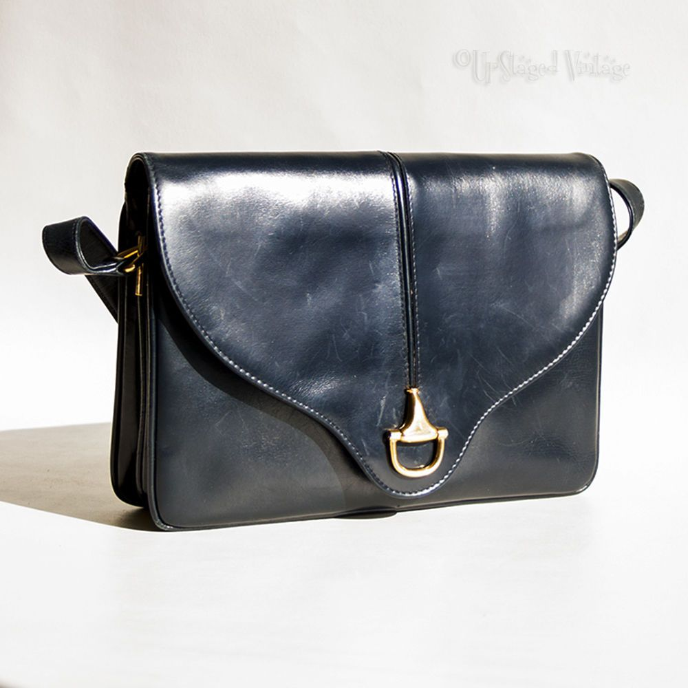Vintage 60s 70s Navy Blue Leather Gucci Italy Shoulder Purse Handbag Free Uk P In Clothes Shoes Accessories Clothing