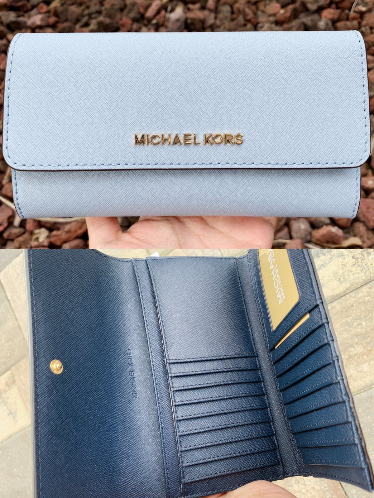 fb665447c7f6 Michael Kors Jet Set Travel Large Trifold Wallet Pale Blue Navy in ...