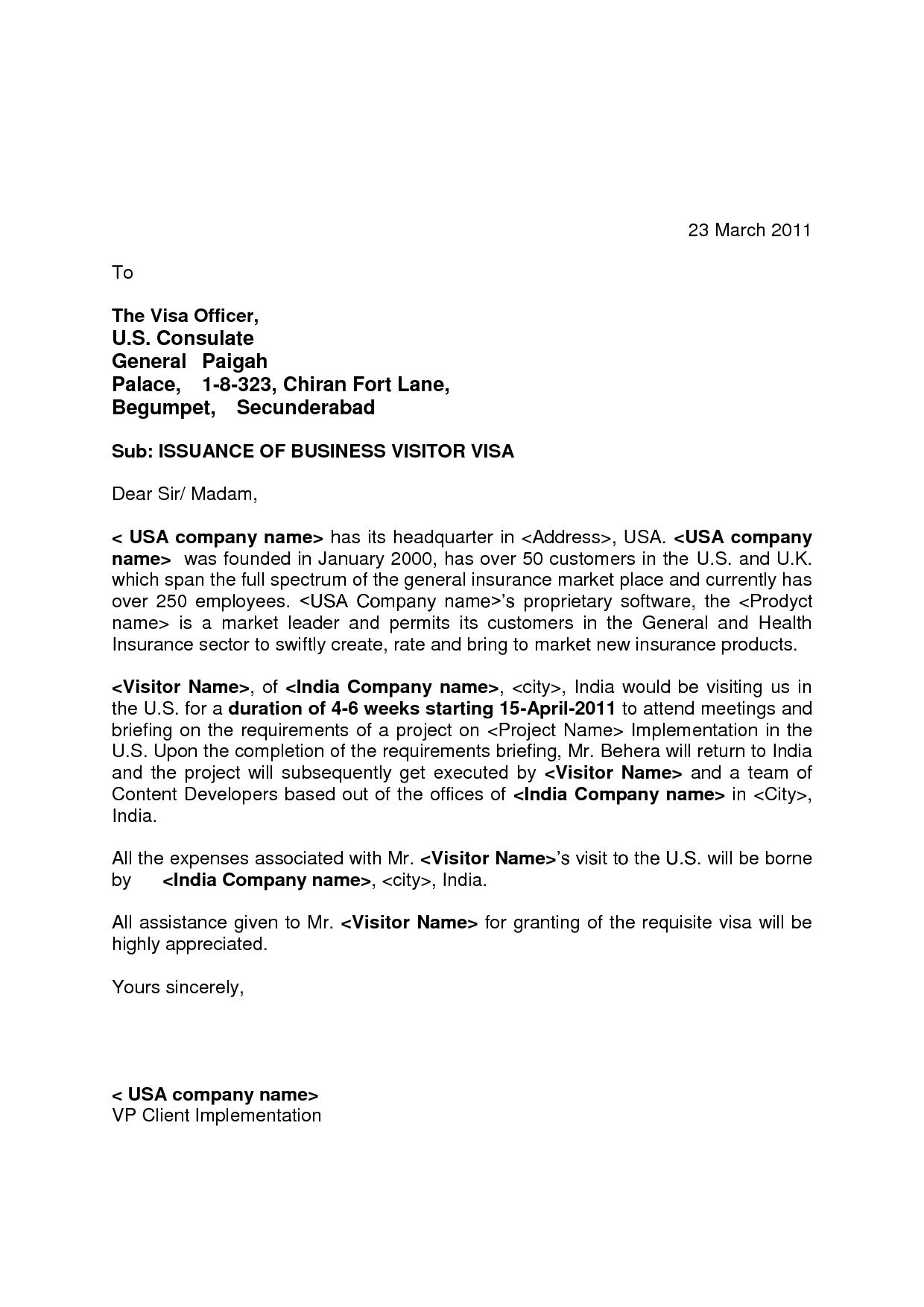 Visa Invitations Letter To Usa Job Cover Letter Sample Resume Cover Letter Cover Letter Example