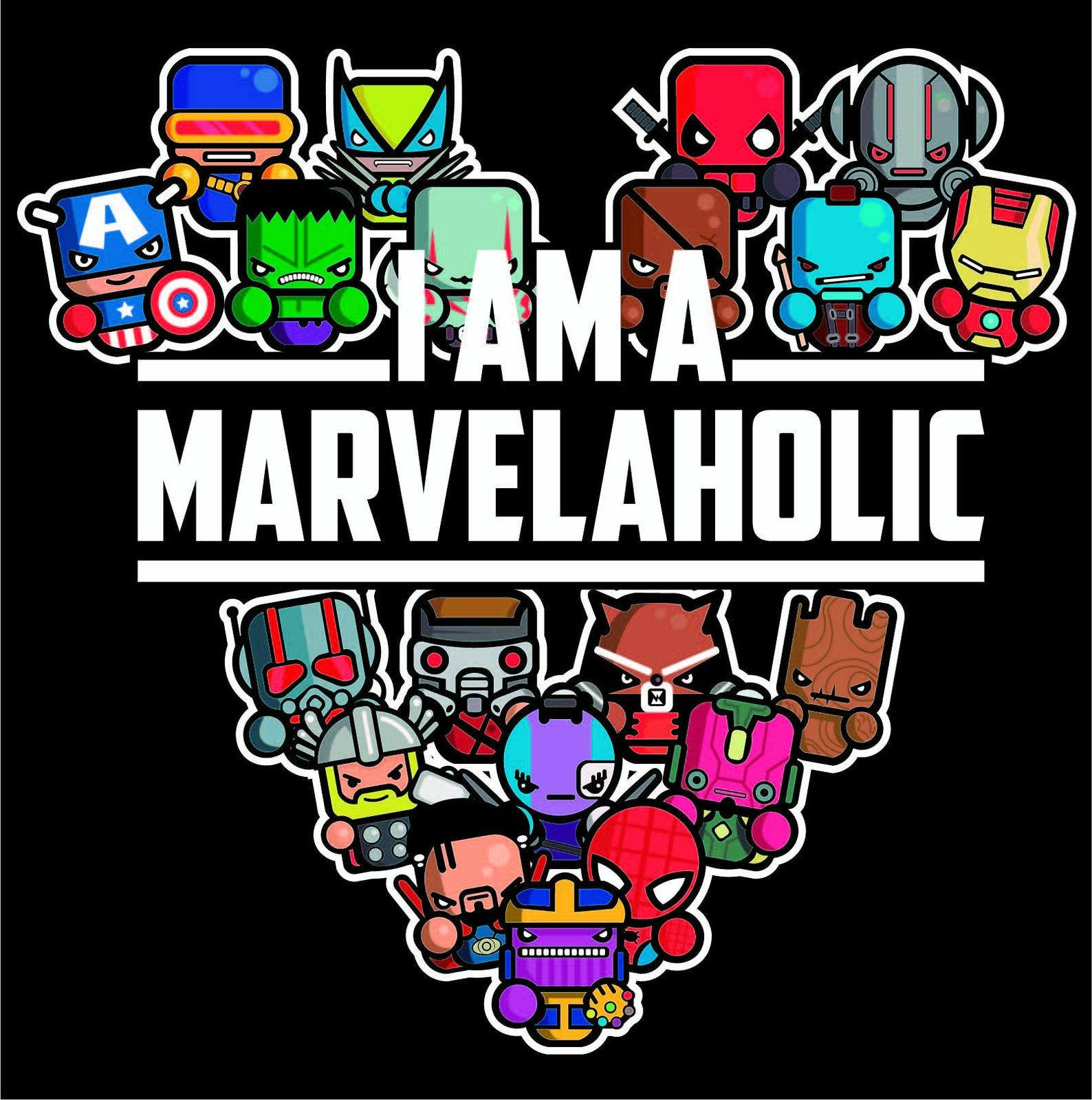 Comic heroes chibis svg// Download PNG image Avenger