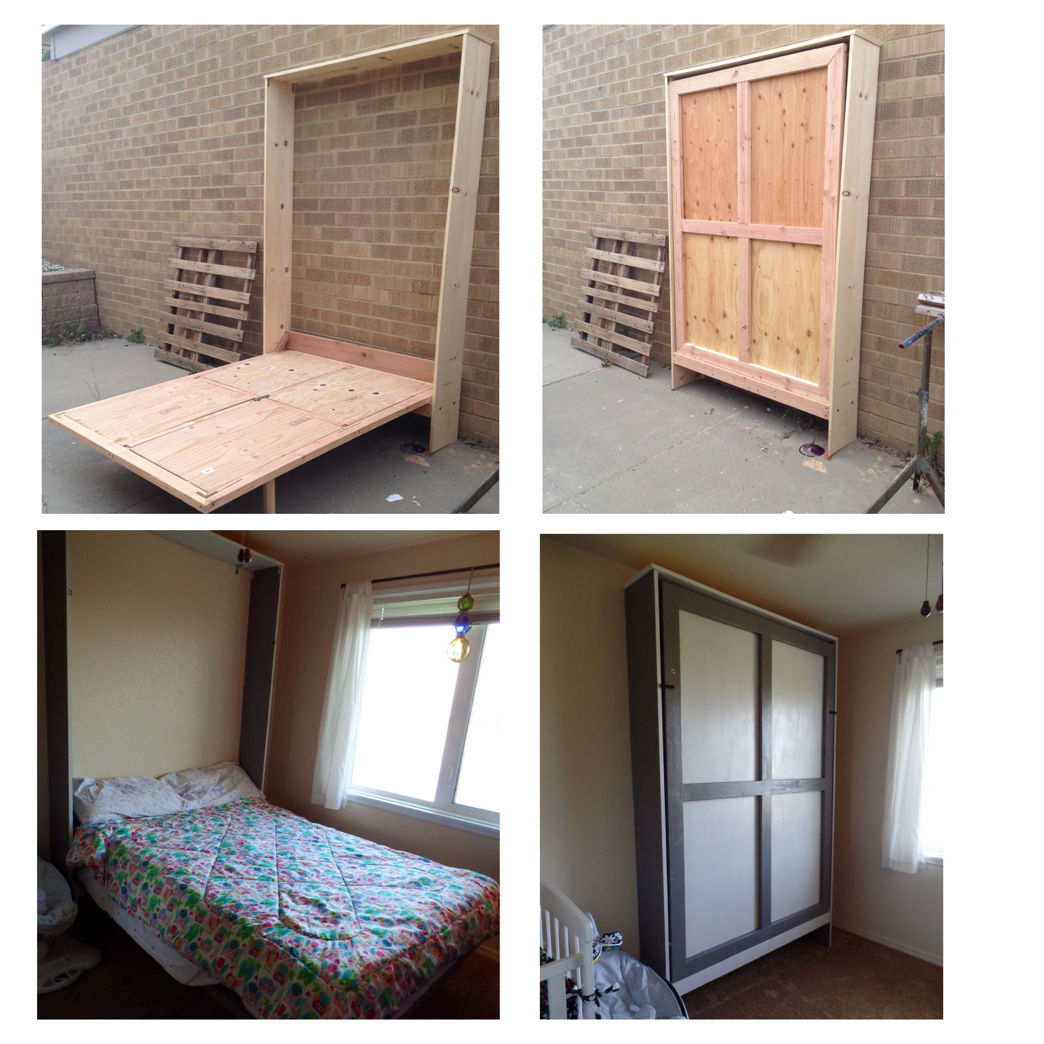 Full Sized Murphy Bed My Hubby Made He Fashioned Hinges So It