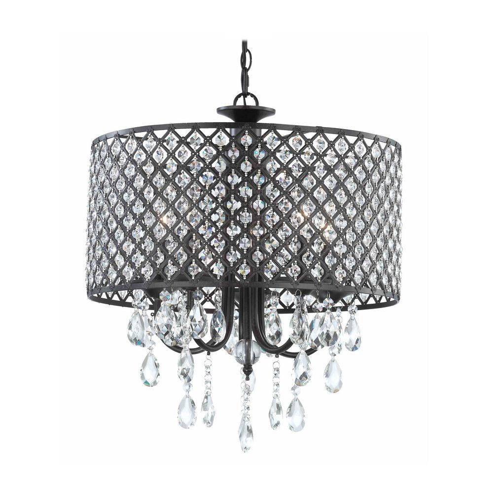 Crystal Chandelier Pendant Light with Crystal Beaded Drum Shade – Modern Black Chandelier