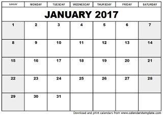 Free Printable Calendar January 2017 October Calendar Printable