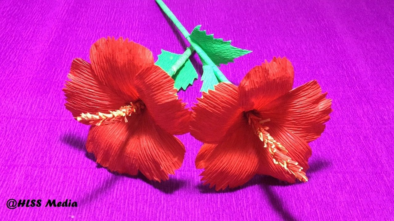 How to make diy hibiscus crepe paper flower tutorialshibiscus how to make diy hibiscus crepe paper flower tutorialshibiscus flower or izmirmasajfo