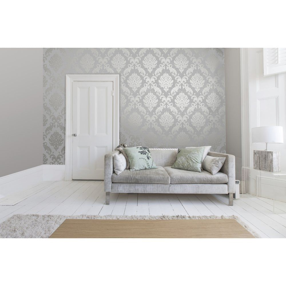 Chelsea Glitter Damask Wallpaper Soft Grey Silver