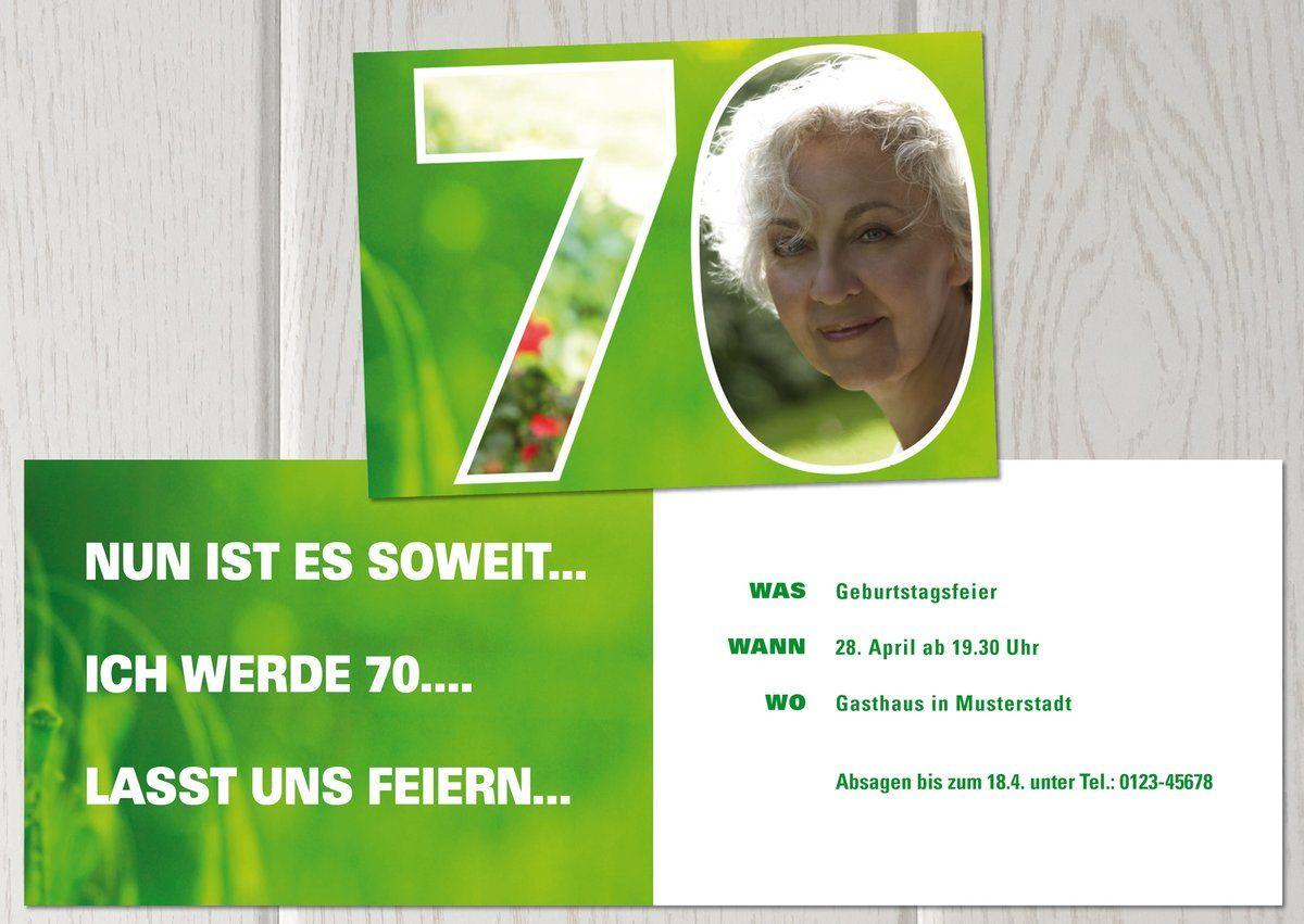 einladungskarte zum 70 geburtstagzahl 70 mit foto