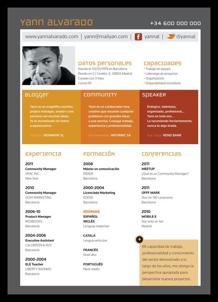 original curriculum con redes sociales  y desglose claro de sus  u00e1reas de experiencia
