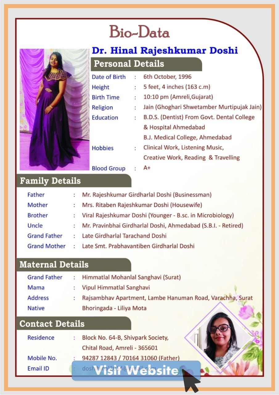Simple Biodata For Marriage Format For Girl Bio Data Bio Data For Marriage Biodata Format Download