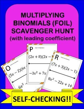 Multiplying Binomials Foil Scavenger Hunt Activity The Math