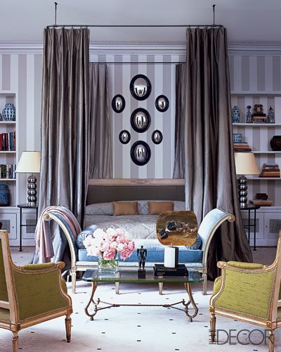 elle decor gray stiped wall + mirrors #graystripedwalls