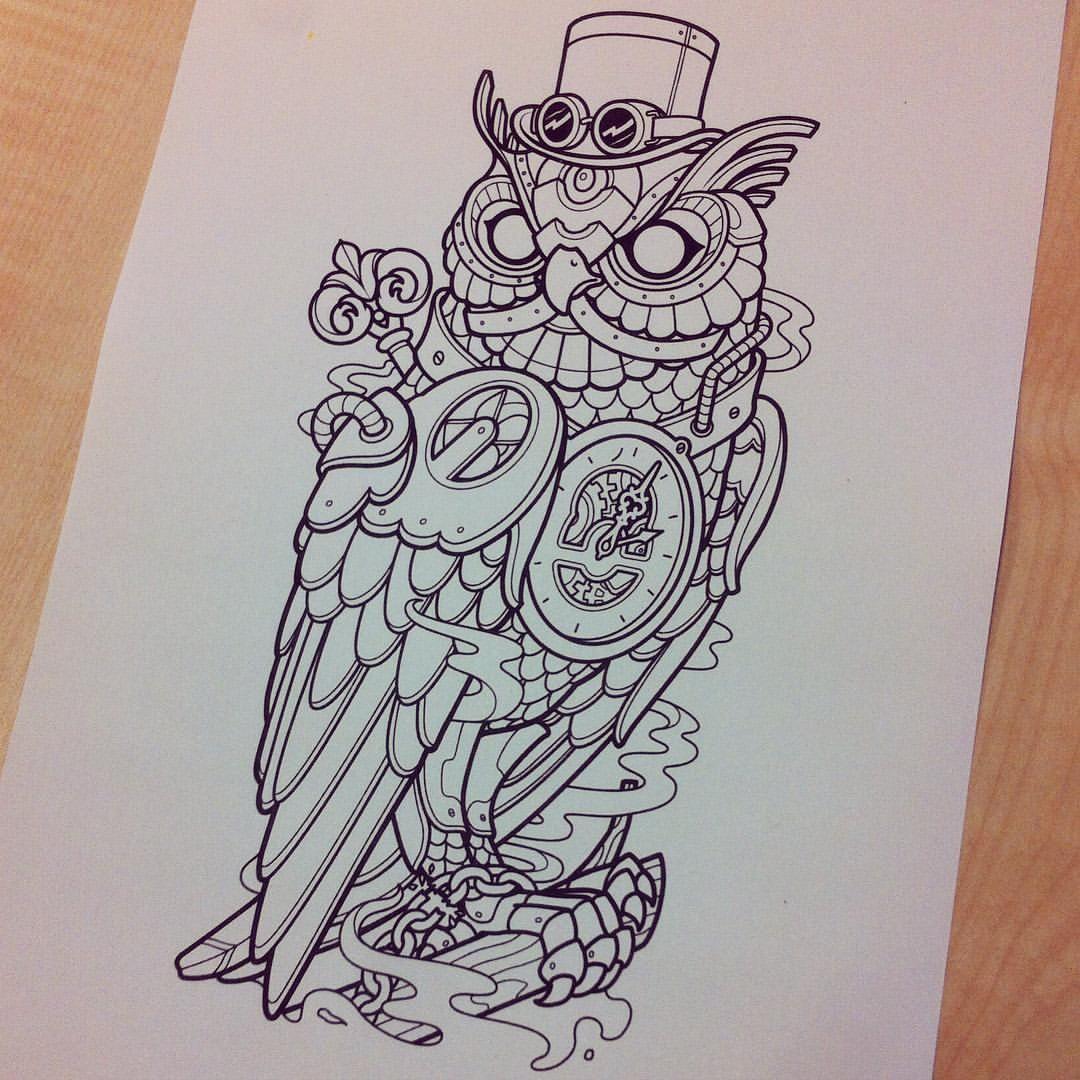 Working On A Mechanical Owl Tattoo Owl Owltattoo Samphillipsillustration Steampunk Samphillips Scifi Robo Steampunk Tattoo Owl Tattoo Owl Tattoo Design