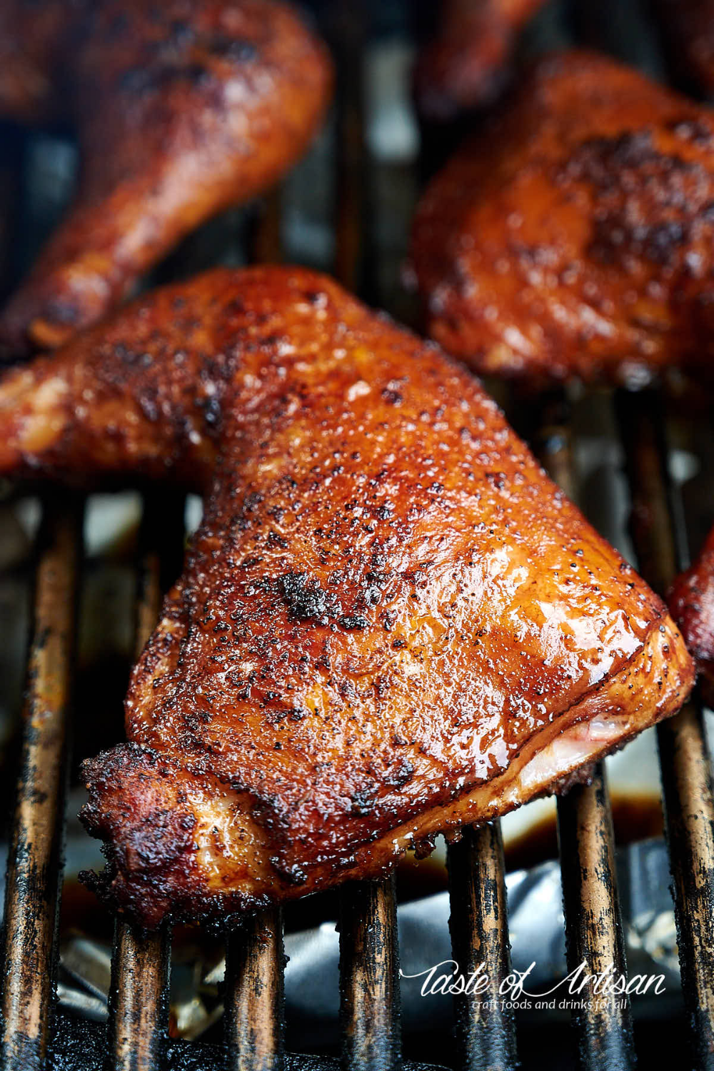 The Ultimate Smoked Chicken Leg Quarter Recipe The Secret Is The First Sear The Chicken Then Smoked Chicken Grilled Chicken Leg Quarters Chicken Leg Quarters