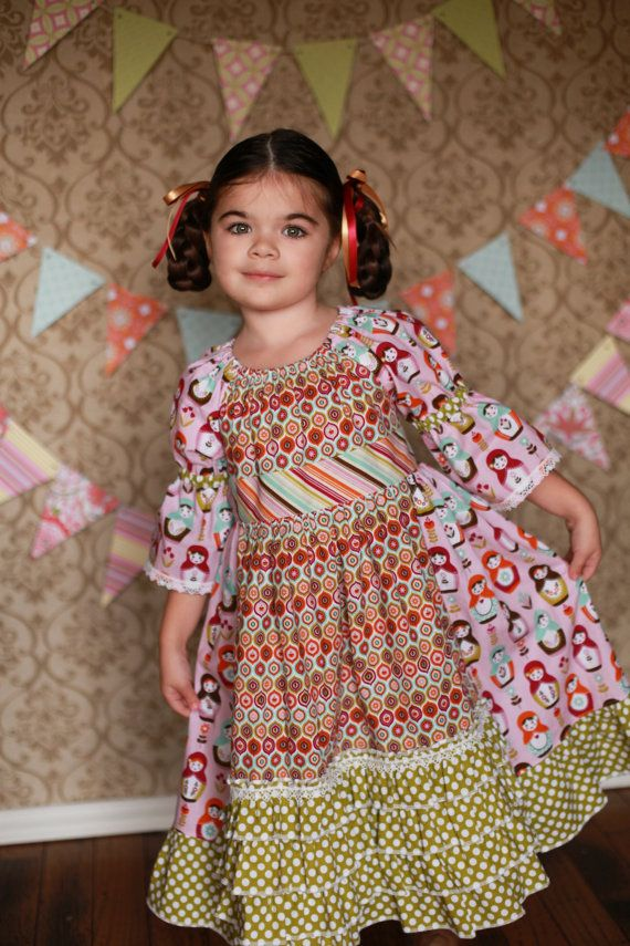 Apron Peasant Dress  Matryoska Dolls by ChewChewsCloset on Etsy, $58.00